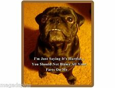 Funny Black Pug Dog Farting  Refrigerator / Tool Box Magnet Gift Card Insert