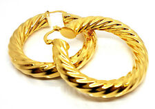 BRAND NEW WOMAN HOT SALE  THICK GOLD TWIST CREOLE THICK HOOP EARRING UK POST