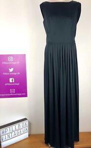 True Vintage 1970s LBD Black Draped Back Dress By California Size 14