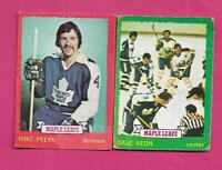 1973-74 OPC LEAFS DAVE KEON + MIKE PELYK  CARD (INV# C2347)