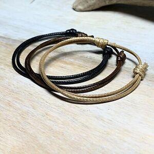 Mens Surfer Bracelet Waterproof Jewelry Black Cord Bracelet Women Gift USA