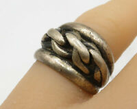925 Sterling Silver - Vintage Chain Link Detail Band Ring - R2801