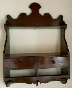 Vintage Large Wooden Hanging Wall Rack w/ 2 Shelves 2 Drawers Scallopped Edges