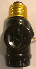 Brown Lampholder Light Socket Adapter Pull Chain w/ Outlet Receptacle 31183
