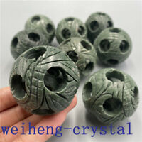 """2"""" Carved Quartz Crystal sphere Natural green jade multilayer ball healing 1pc"""