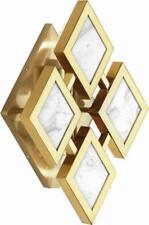 Robert Abbey 382  Edward  Modern Brass with White Marble 2 Light Wall Sconce NEW