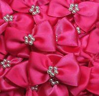10 x HOT PINK 3.5cm Satin Ready Made Mini Ribbon & Pearl Craft Bows Bow Ties