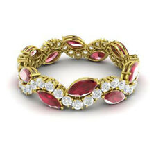 14K Yellow Gold 3.40Ct Ruby Natural Diamond Gemstone Band Eternity Ring Size N