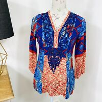 British India Traveller Boho Tunic Top Floral Beaded Long Sleeve Size S - M