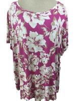 JM Collection knit top size 3X short sleeve pink white floral stretch magenta