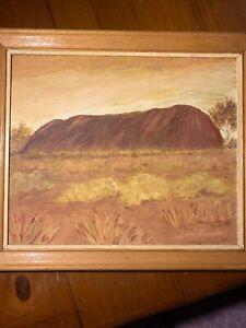 Vintage Oil Painting Uluru Framed Retro Signed Fanello