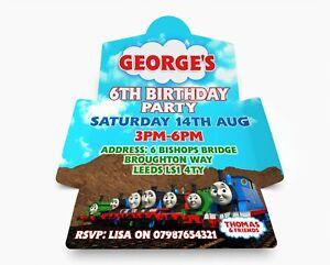 Personalised Thomas Birthday Party Invitations. Invite & Envelope in one PK 10