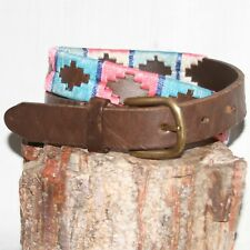 "Vintage dark brown western design Leather Belt sz 27 & 1"" Wide flowered buckle"