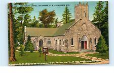*1940s Community Chapel Church Big Moose NY Adirondack Mountains Postcard C38
