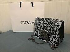 WT FURLA Black/Light Gray Printed Leather Mini Metropolis Cross Body Bag