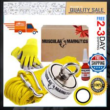 625lb Double Sided Fishing Magnet Kit With Carabiner Glove Amp 100ft Rope And Tape