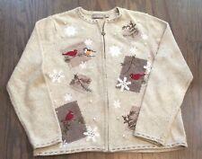 Croft & Barrow Women's Beige Winter Sweater Cardigan Size Medium