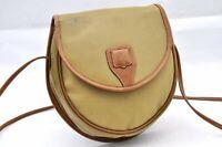 Authentic CELINE Shoulder Bag Vinyl Leather Khaki A0807