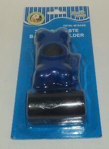40 Ct Dog Waste Bags With Blue Bone Clip Holder NIB