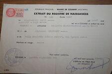 timbre fiscal 100 francs sur extrait de naissance colmar 1961