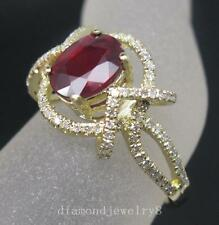 Solid 14K Yellow Gold Genuine Natural Diamond Filling Blood Ruby Engagement Ring