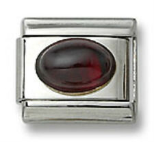 Authentic 18k Italian Charm Genuine Garnet Stone Oval 9mm Fit Bracelet Free Ship