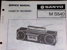 Sanyo M-S540 Radio Cassette Recorder Service Manual