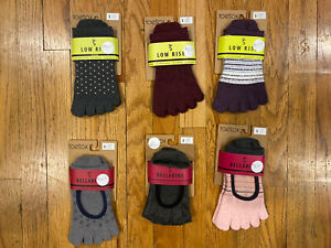 Toesox Bellarina Yoga Socks Non Slip Pilates Fitness  Bare Feet 6 Pairs Small S