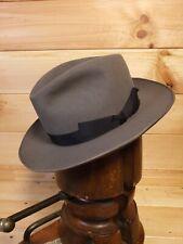 Vintage 50's Grey Fedora Hat German VHG  Eu 52 UK 6 3/8 US 6 1/2