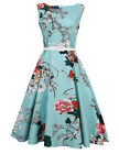 US Women's 1950s Vintage Retro Peony Floral Rockabilly Evening Party Swing Dress