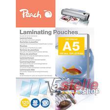 Peach 100 POUCHES A5 15x21cm 125 MICRON FOGLI LUCIDI PER PLASTIFICATRICE A CALDO