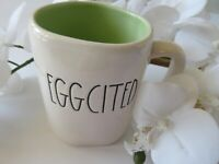 "Rae Dunn By Magenta ""EGGCITED"" White Ceramic Coffee/Tea Mug Black Letters"