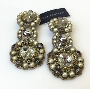New Ranjana Khan RK Rhinestone Chandelier Clip Earrings The Limited Jewelry
