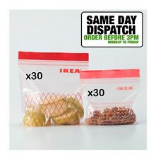 IKEA ISTAD Plastic Ziplock Resealable Food Freezer Storage Bags 60 pack 1L 0.4L