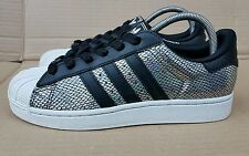 ADIDAS SUPERSTAR SHELL TOE TRAINERS SIZE 5 UK HOLOGRAPHIC FOIL SILVER / BLACK