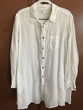 KLEEN CLOTHING womens A-Line Tunic Blouse Tissue Linen 2 pocket White Size XL