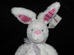 GUND JALOPY BUNNY WHITE SOFT TOY COLOUR MY WORLD RABBIT COMFORTER DOUDOU