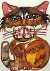 Cat Weird Cute Fun Feline ACEO ATC original Card  miniature collectible Painting