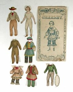 """ca1857 SET OF McLOUGHLIN BROS PAPER DOLLS """"CHARLEY"""" HAND COLORED PAPER DOLLS SET"""