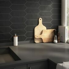 SomerTile Black Porcelain Kitchen Bathroom Floor and Wall Tile Case of 40 New