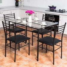 5PC Dining Set Tempered Glass Top Table & 4 Upholstered Chairs Kitchen  Furniture