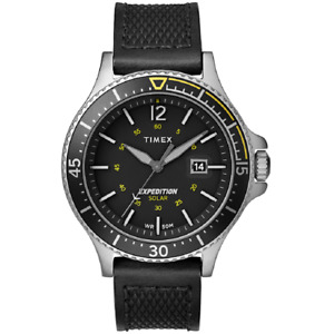 Timex TW4B14900,  Ranger, Expedition Black Leather Watch, Solar Battery, Date