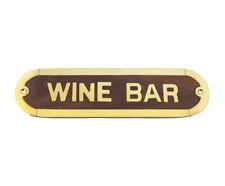 Wood/Brass WINE BAR Plaque Cellar/Vineyard Wall Decor Home Pub/Indoor House Sign