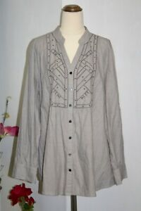 Suzannegrae Shirt Size 18 Grey Button Down Long-sleeve Cotton