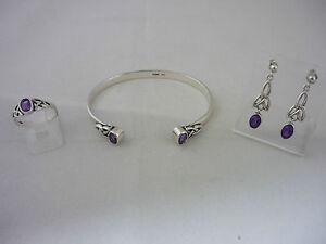 Stunning Designer Sterling Silver & Amethyst Ring(Size Q), Earrings & Bangle Set