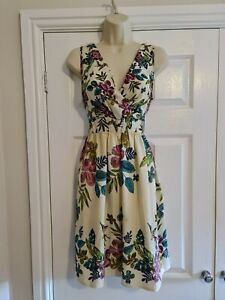 Ladies Cream Pink & Green Floral Summer Dress Size 12 By Dorothy Perkins