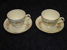 TWO Homer Laughlin Eggshell Nautilus Ferndale Tea Cup Saucer Sets 2 EXCELLENT