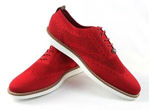 Men's Red Wing Tip Knit Dress Casual Shoes Comfort Slip Resistant Jaxson C2022