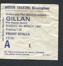 1980 Ian Gillan from Deep Purple Concert Ticket Stub Birmingham UK Glory Road