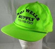 Neon Green RON WELLS SUPPLY Nylon Snapback Hat Dad Cap Springville NY
